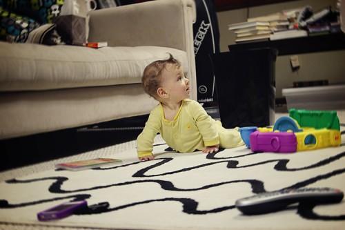 baby boy on rug