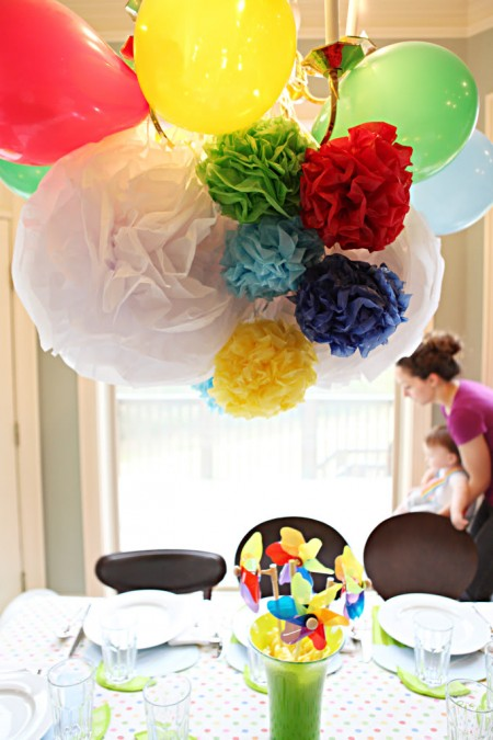 rainbow pom pom birthday party decorations