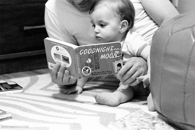 baby reading goodnight moon