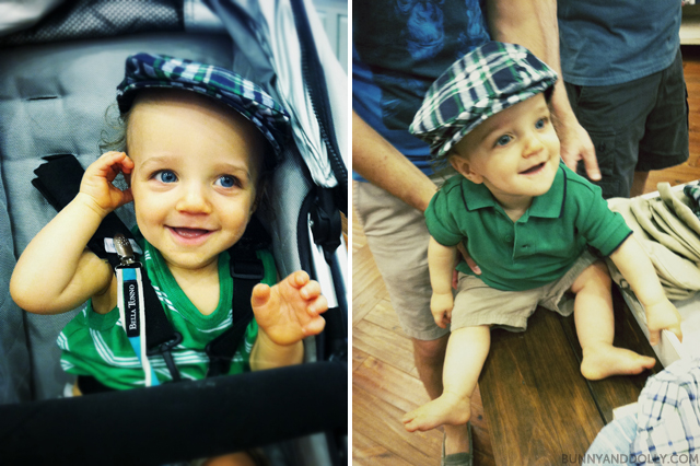 baby wearing plaid hat