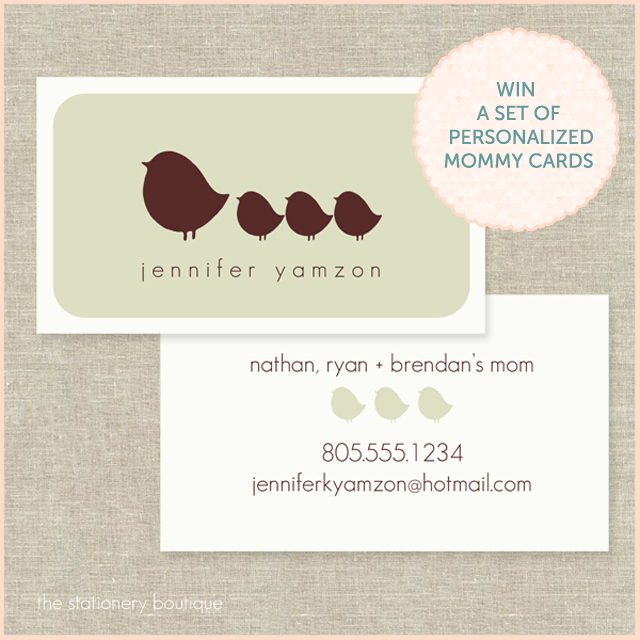 win a set of personalized mommy cards
