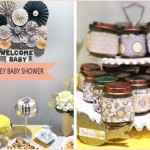 a yellow and grey baby shower