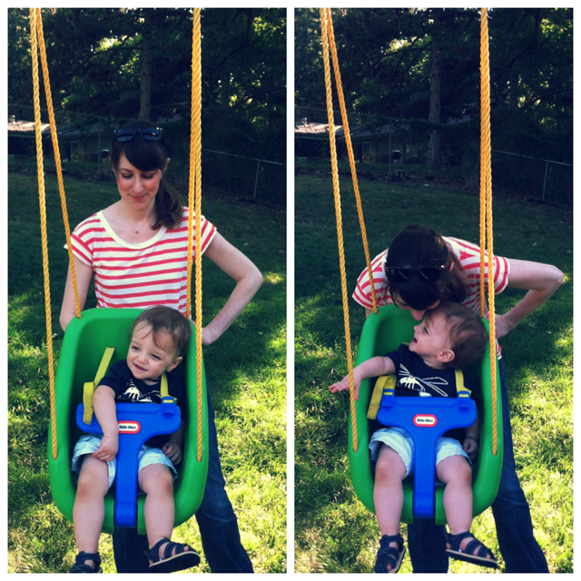 pushing toddler in backyard swing
