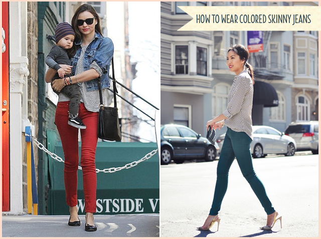 how to wear colored skinny jeans