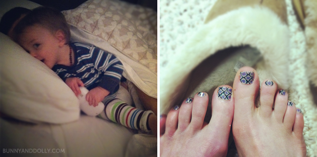 toddler in bed and snake pedicure
