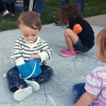 How a Toddler Plays with Sidewalk Chalk
