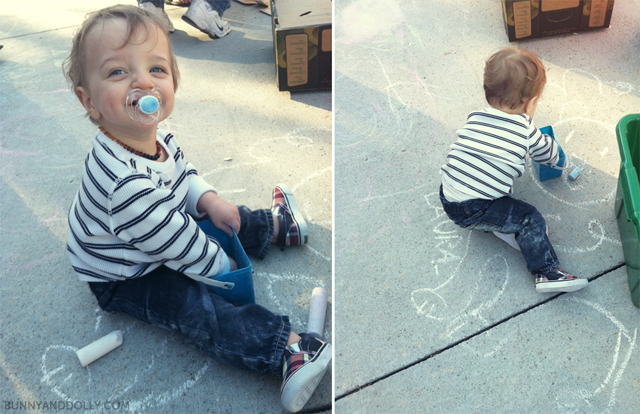 Toddler Playing with Sidewalk Chalk