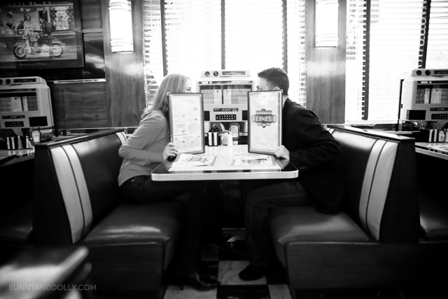 engagement photo at diner