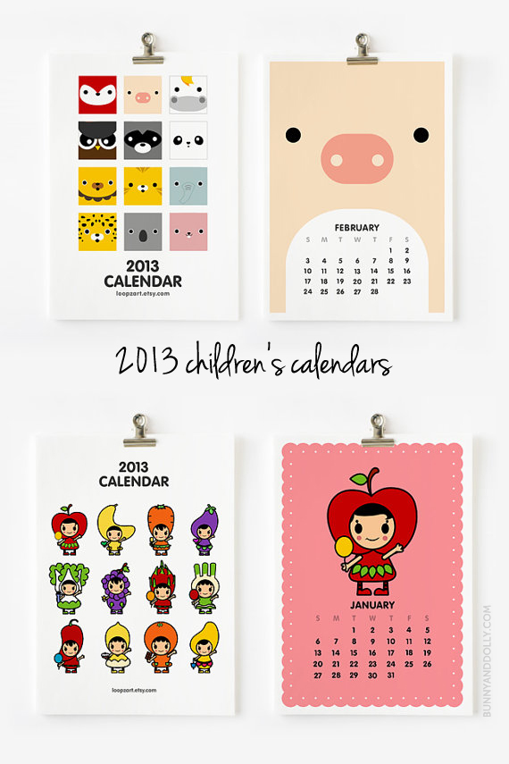 Cute Calendars for Kids by Loopz on Bunny & Dolly