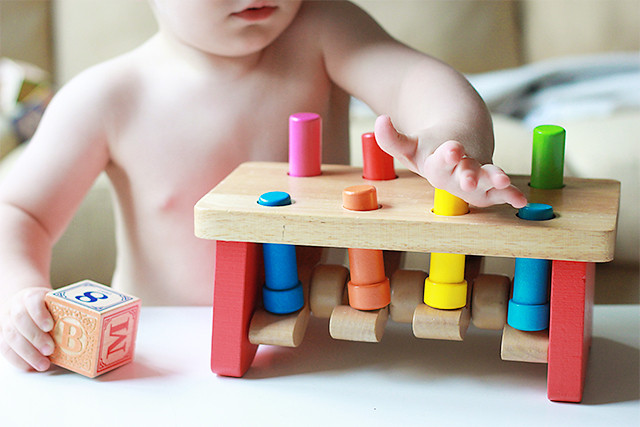 This is 18 months old: banging toys and blocks | A Girl Named PJ