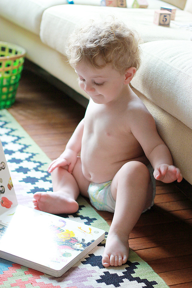This is 18 months old: Toddler who loves to play, read, and climb wearing Pampers Cruisers from Target | A Girl Named PJ