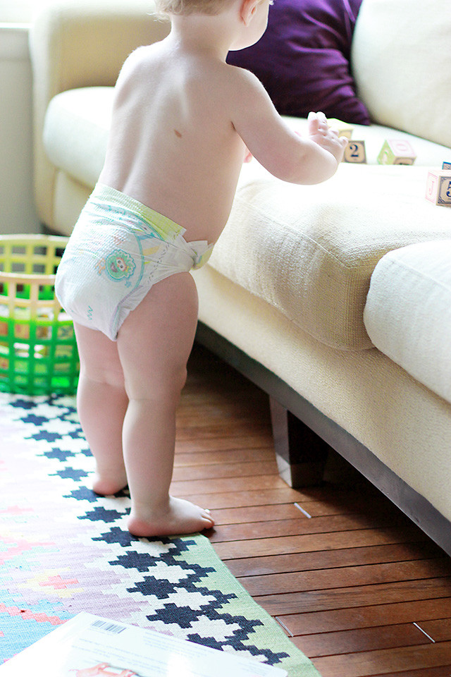 This is 18 months old: Toddler who loves to walk, run and climb wearing Pampers Cruisers from Target | A Girl Named PJ
