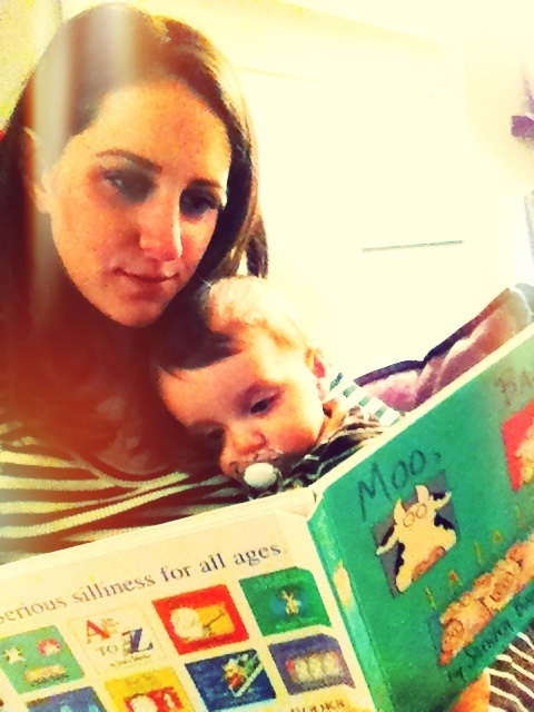 reading Moo Baa La La La book