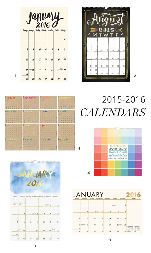 2015 - 2016 calendars from PaperSource
