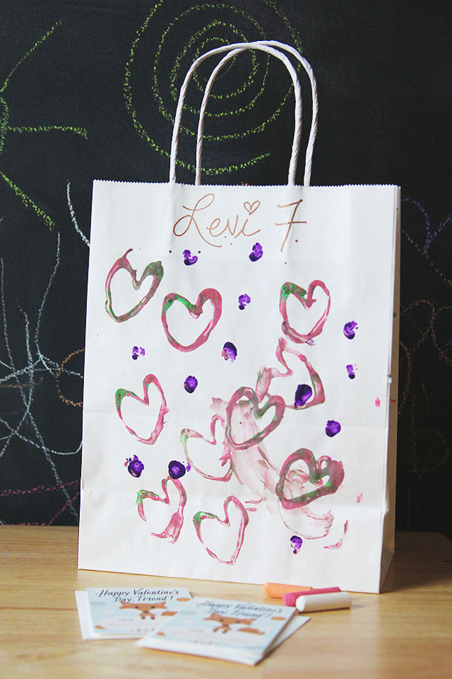 DIY heart stamp on valentine's day bag