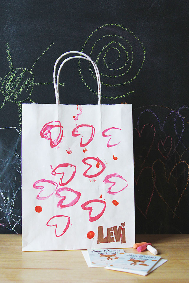 DIY heart stamped valentine's day bag