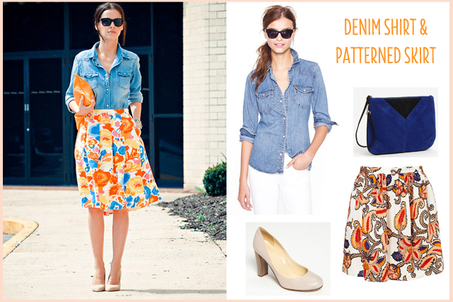 denim skirt with paisley skirt