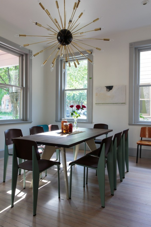 Large Sputnik chandelier over dining room table