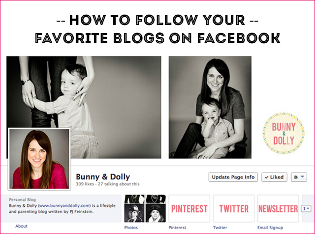 How to follow your favorite blogs on Facebook via www.bunnyanddolly.com