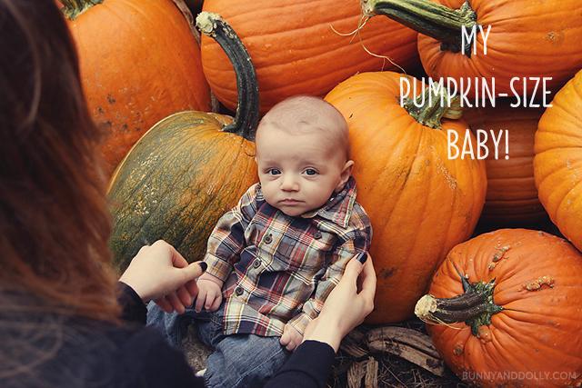Baby Boy Sitting Next To Pumpkins