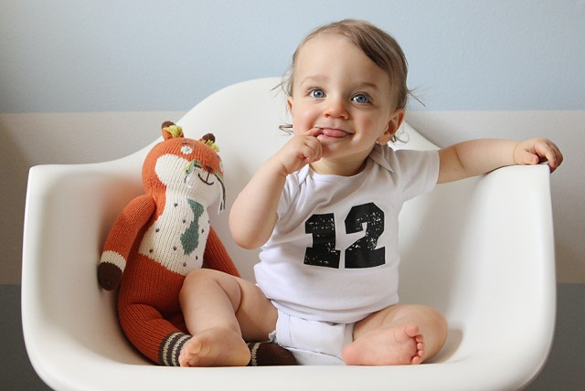 monthly baby photo - twelve months old