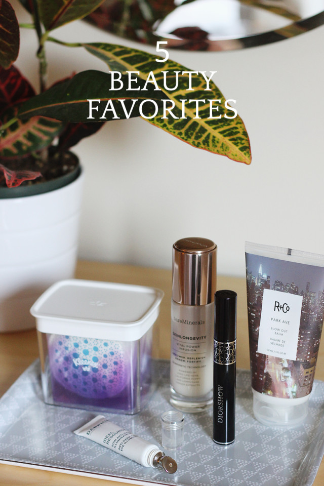 5 Beauty Favorites: Kleenex Facial Cleansing products, bareMinerals SkinLongevity, Diorshow Mascara, R and Co Blow Out Balm, Darphin Ideal Resource