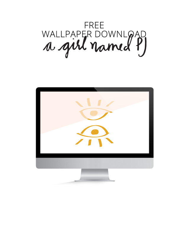Free hand drawn wallpaper download with color blocking for desktop from A Girl Named PJ