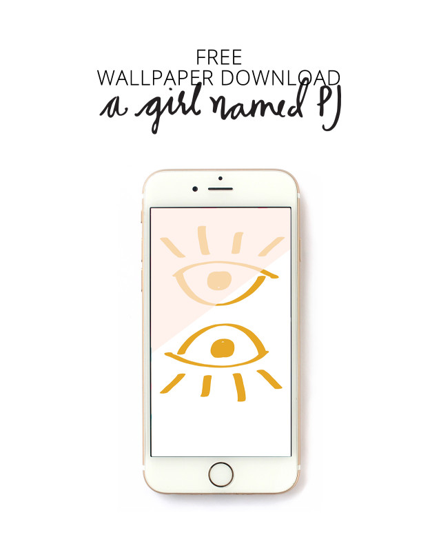 Free hand drawn wallpaper download with color blocking for iPhone from A Girl Named PJ