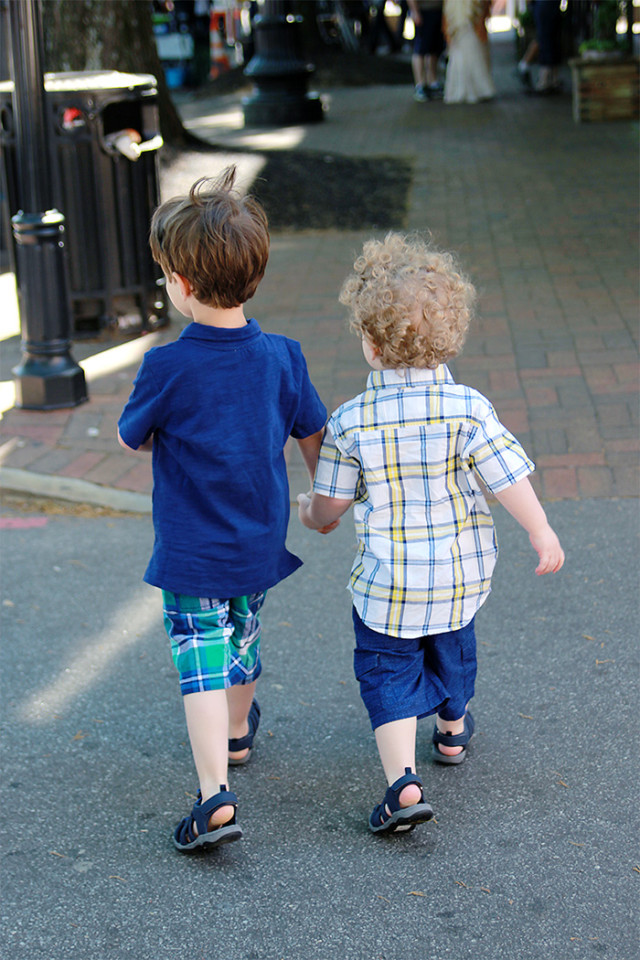 Brothers wearing plaid from Gymboree to celebrate One Big Happy Mother's Day on A Girl Named PJ