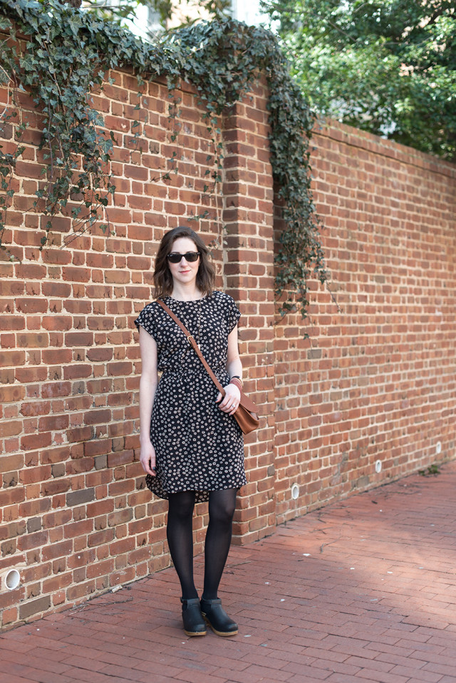 This Madewell spring dress will take you through summer if you swap the tights for bare legs and clogs.