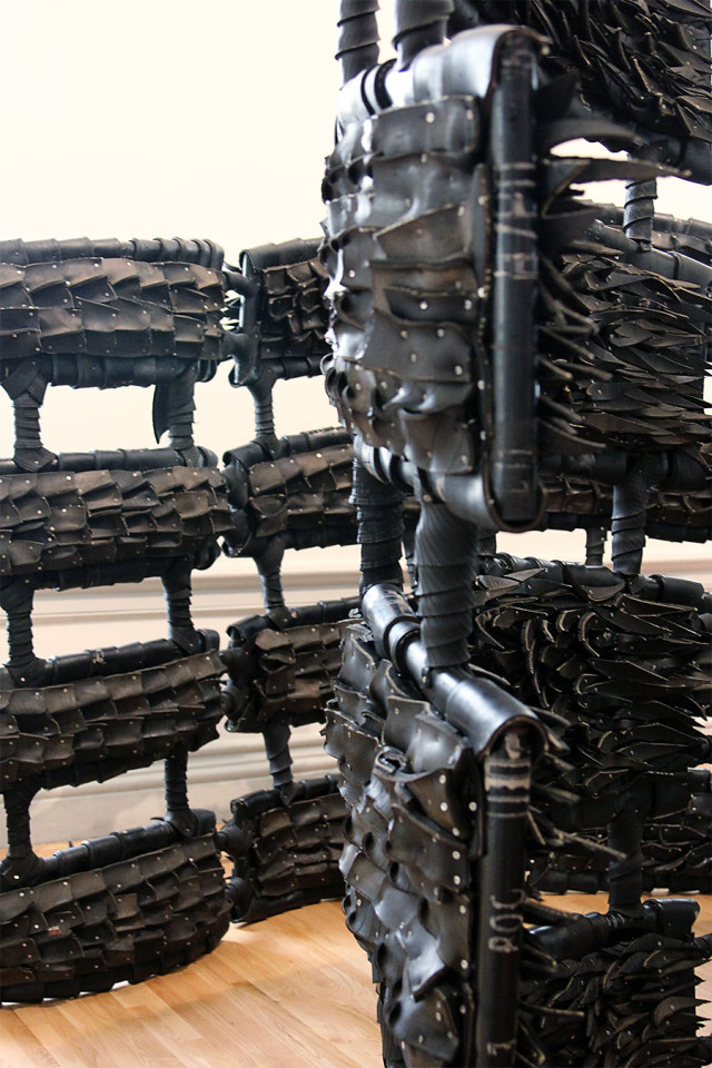 Recycled tires sculpture by Chakaia Booker at The Renwick Gallery Wonder exhibit on A Girl Named PJ