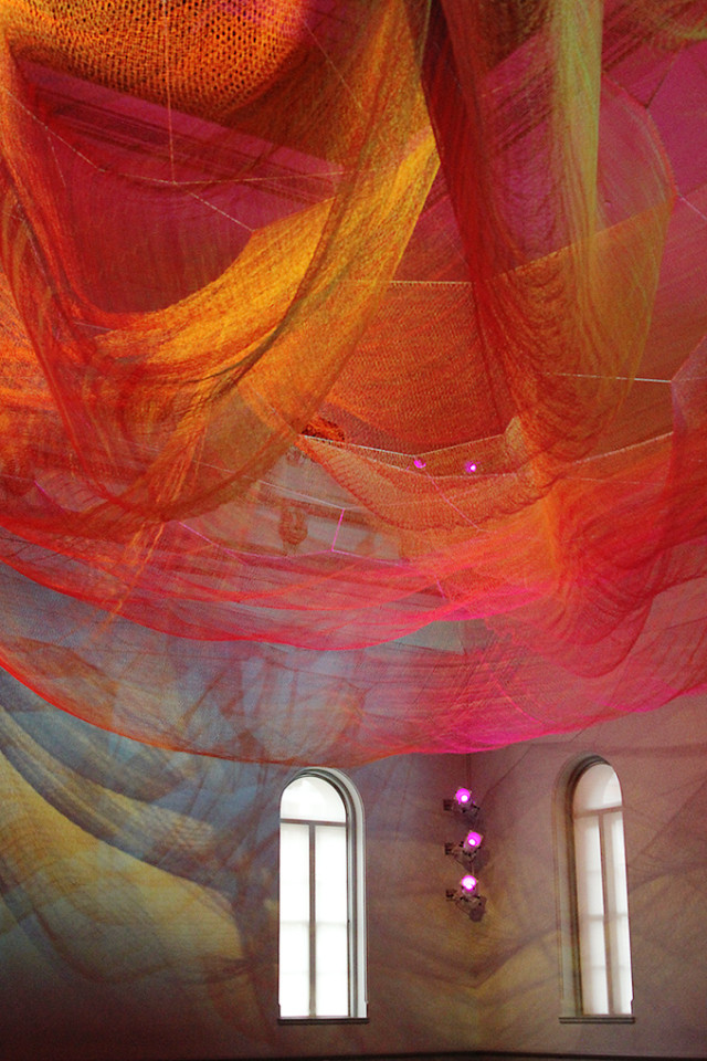 Wonder exhibit at The Renwick Gallery: Janet Echelman rainbow net on A Girl Named PJ