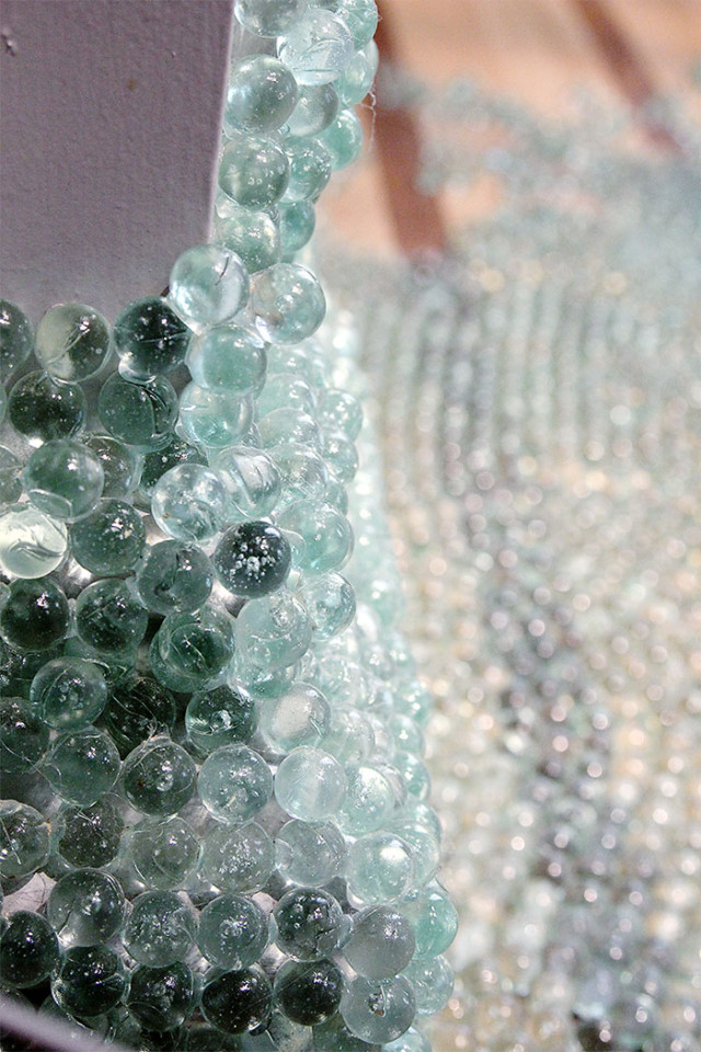 Close up of marbles used by Maya Lin in her Wonder exhibit at The Renwick Gallery on A Girl Named PJ
