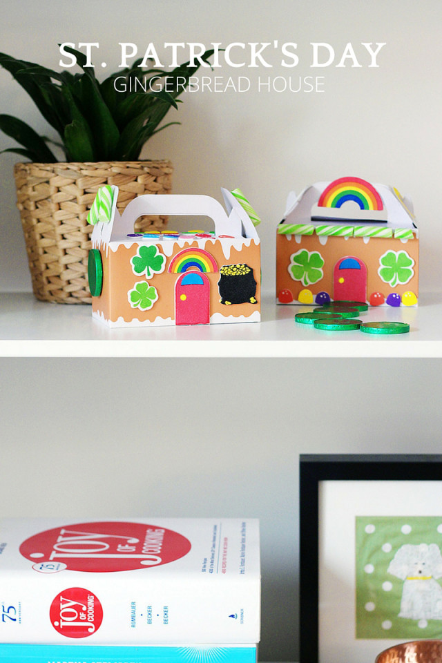 Kids' crafts: St. Patrick's Day gingerbread house on A Girl Named PJ