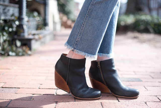 Madewell cropped bootcut frayed-hem jeans with wedge boots