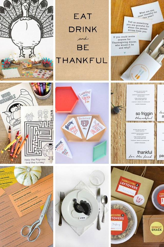 Free (or very cheap!) Thanksgiving printables for kids on A Girl Named PJ