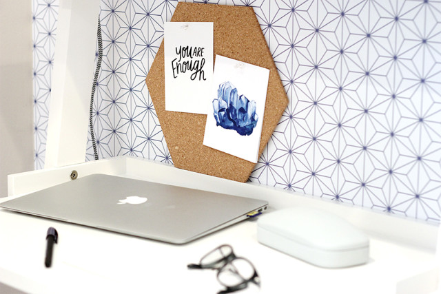 Upgrade your home office with personal touches like favorite postcards and motivational quotes. Get more decorating ideas from A Girl Named PJ!
