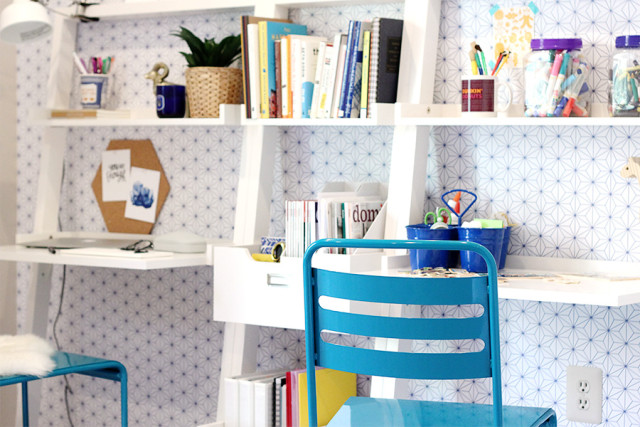 A shared mother-and-son workspace gets a major makeover. Learn 5 ways to upgrade your home office on A Girl Named PJ.