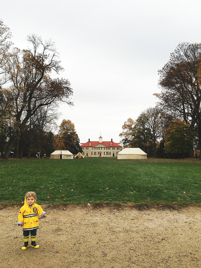 Visiting Mount Vernon: The Mansion in the rain on A Girl Named PJ