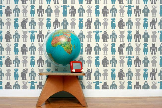 Aimee Wilder Robots Wallpaper Blue