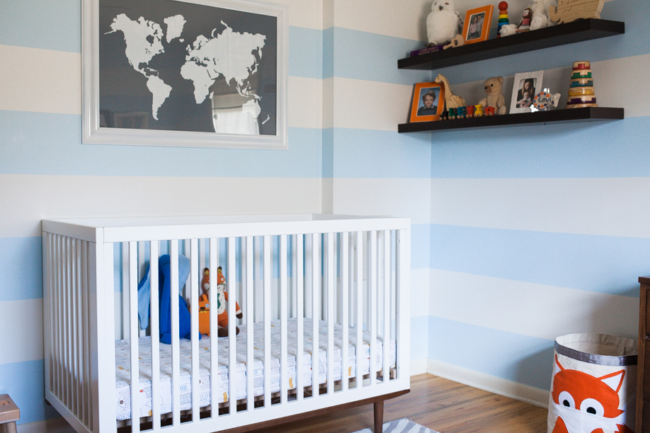 blue and white striped nursery | a girl named pj