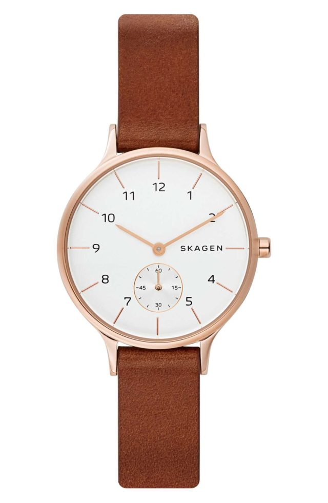 brown leather and rose gold skagen watch