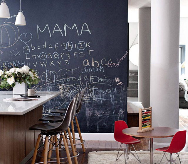 Midcentury Modern Kitchen With Chalkboard Wall