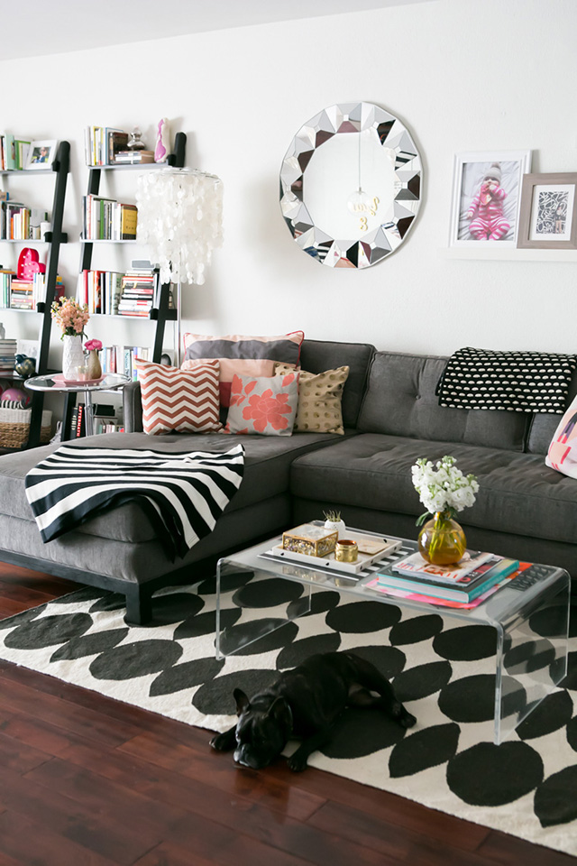A Girl Named PJ living room inspiration: Clear acrylic coffee tables