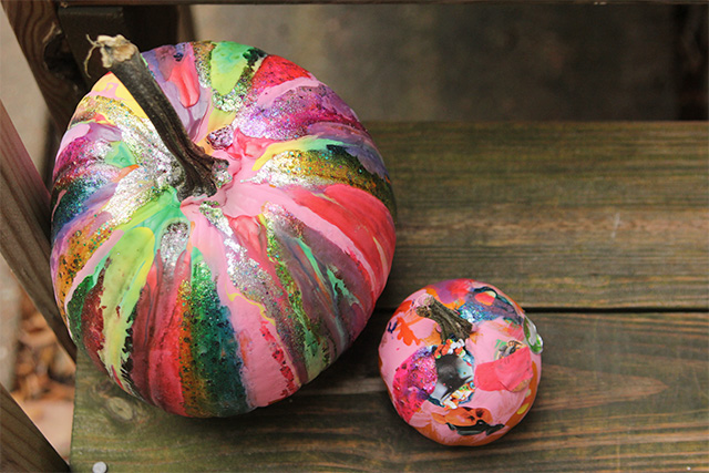 drip paint pumpkins