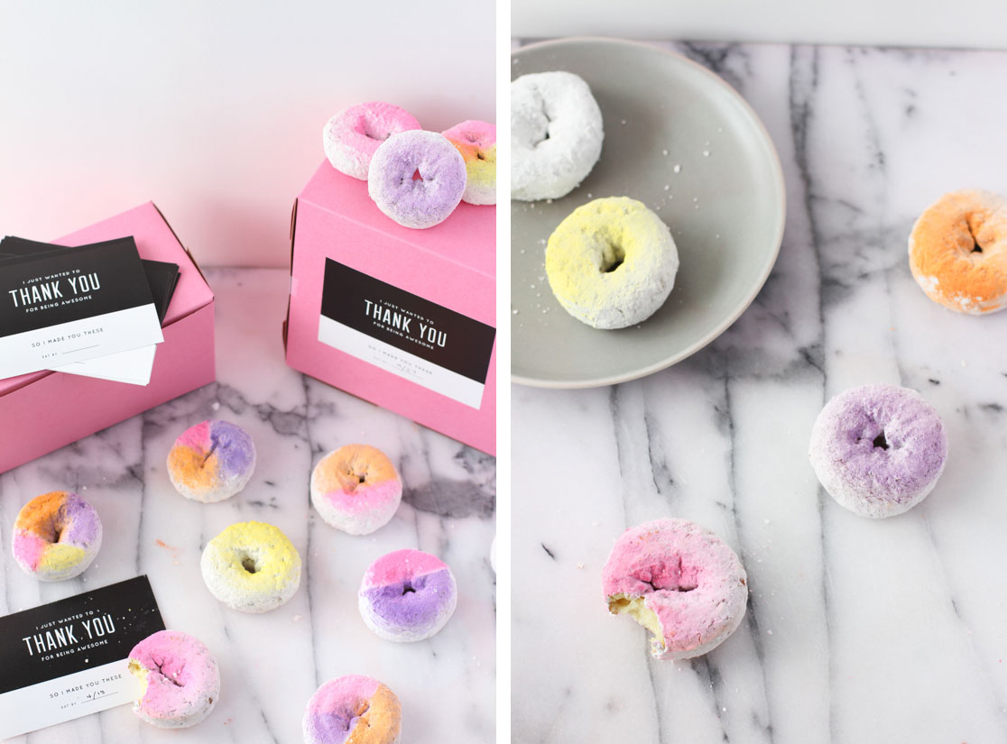 ombre and color blocked donuts