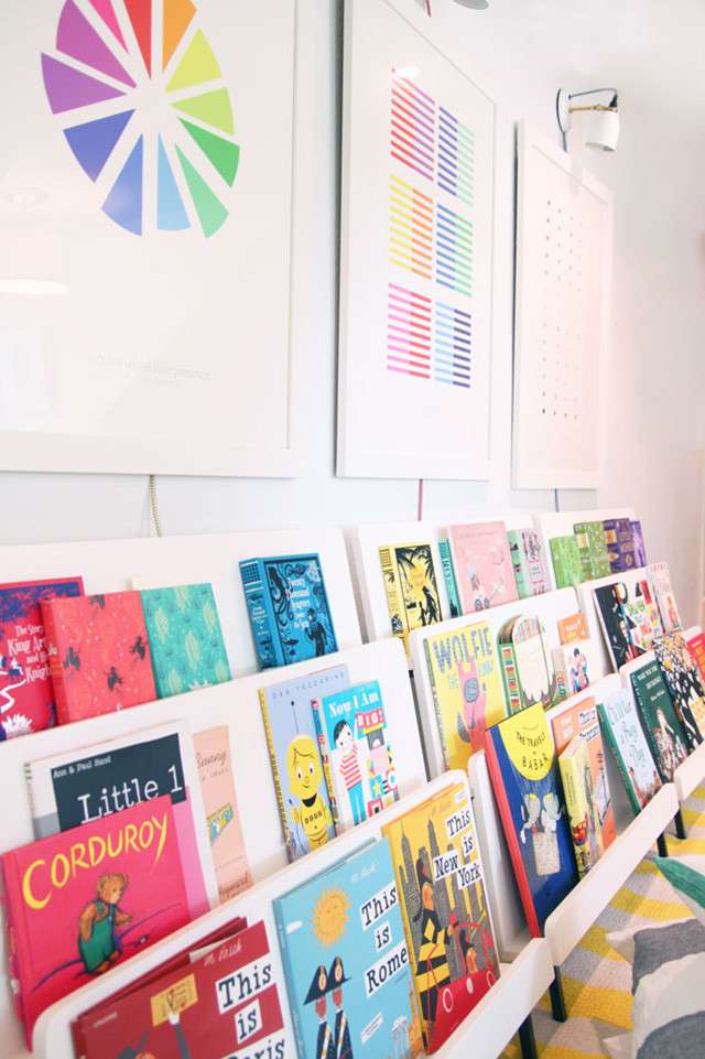 Cool playroom idea: Build a colorful library for kids