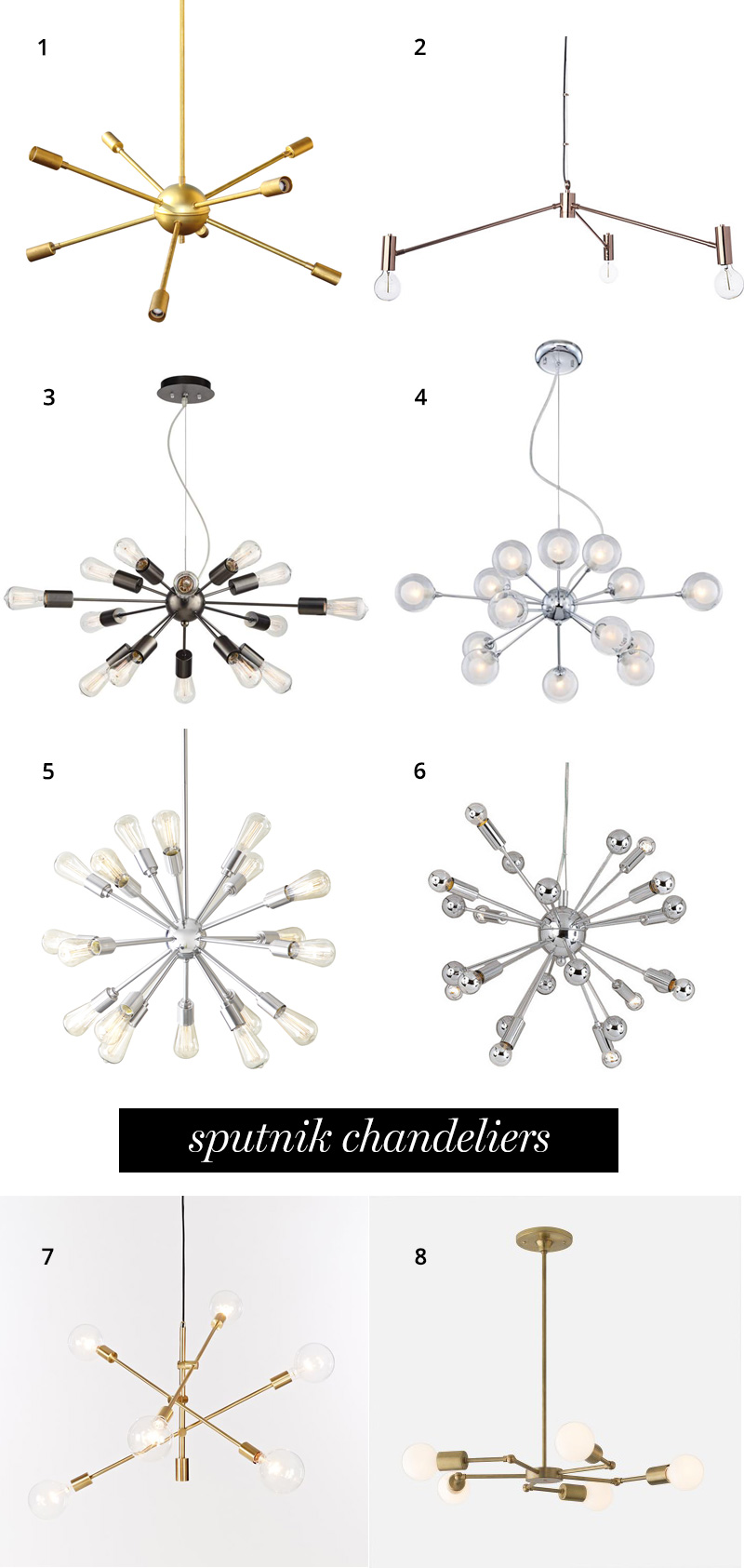 Sputnik chandeliers that will bring mid-century style to any dining room | A Girl Named PJ