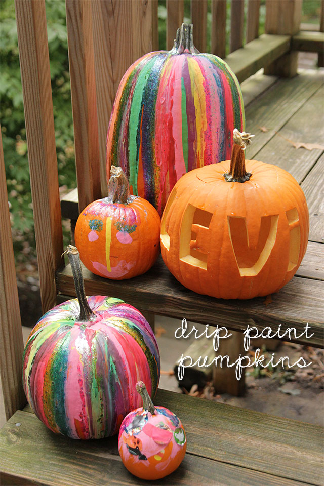DIY drip paint pumpkins