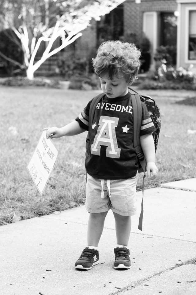 A is for Awesome Student shirt and a first day of nursery school sign